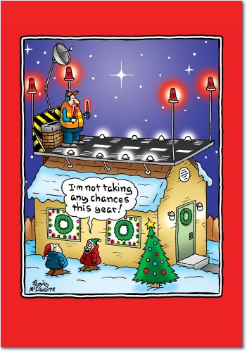 12 'Santa Runway' Boxed Christmas Cards with Envelopes 4.63 x 6.75 inch, Silly Holiday Cartoon Christmas Notes, Funny Santa Claus on Rooftops Holiday Notes, Unique Christmas Stationery B5896 -