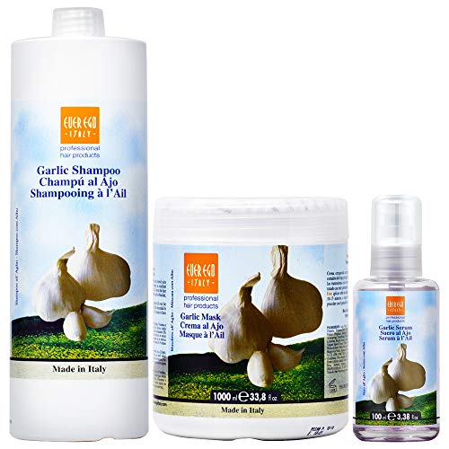 Ever Ego Garlic Shampoo + Mask 1000ml / 33.8oz + Serum 100ml / 3.38oz