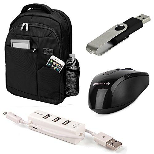 Jet Black Germeni Backpack Carrying Case for Microsoft Surface Book 13.5 & Surface Pro 4 14 inch Laptops + Black USB Mouse + Black 4GB Thumbdrive + 3 Port USB - 14 Black In Usb