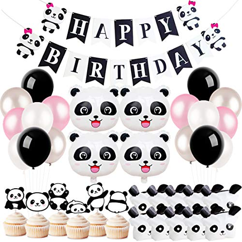 KREATWOW Panda Party Decorations Supplies Girls Birthday Banner Favor Bags for Panda Bear Birthday Baby Shower]()