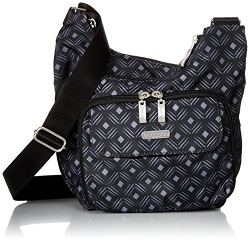 Baggallini Criss Cross Bagg, Black Diamond Print