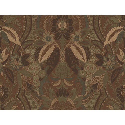 Waverly 5512015 Geddy House Damask Wallpaper, Sage and Brown, 20.5-Inch Wide