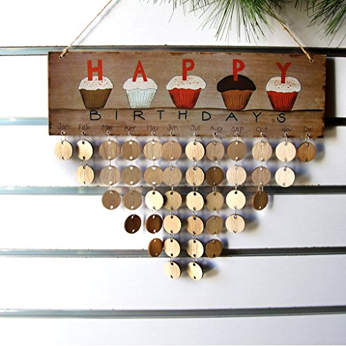 Wooden Birthday Reminder Calendar Plaque Sign Board JHYQ-US Wall Hanging Family Decor Plaque with 50 Pieces Blank DIY Wood Tags to Write on (Wood Plaque Board)