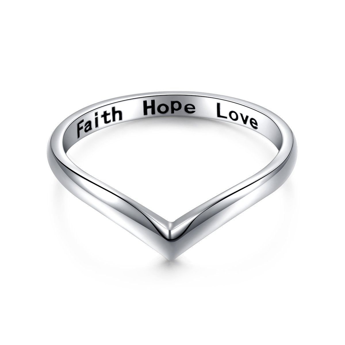 Sterling Silver Jewelry Faith Hope Love Chevron Thumb Ring V Shape Ring