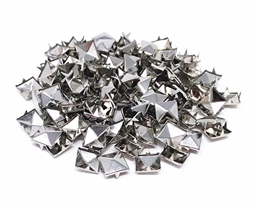 Studs Spikes (Honbay 200pcs 10mm Square DIY Leathercraft Silver Metal Punk Spikes Spots Pyramid Studs Nailheads)
