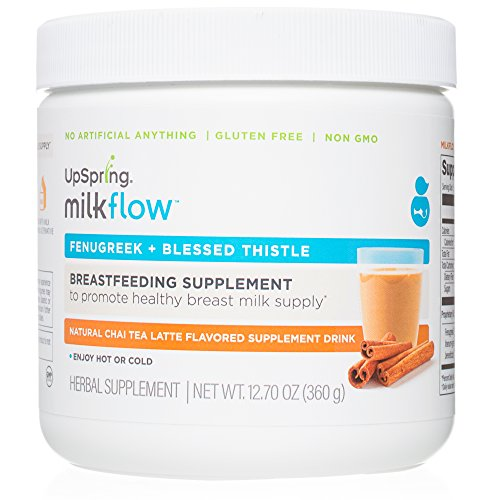UpSpring Milkflow Fenugreek and Blessed Thistle Lactation Tea, Chai Latte, Powder Drink Mix Lactation Supplement, 24 Servings