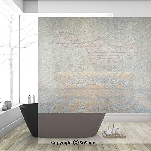 3D Decorative Privacy Window Films,Decadence Grunge Ruin Brick Wall and a Giant Lizard on Sofa Surreal Art,No-Glue Self Static Cling Glass Film for Home Bedroom Bathroom Kitchen Office 36x36 - Jordan Lizards