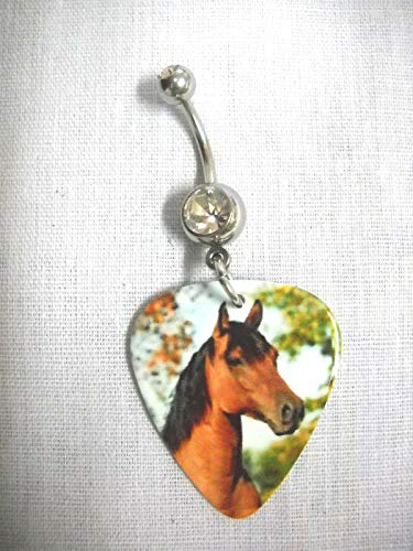 New Equestrian Pony Horse COLT Printed Guitar Pick Clear Belly BAR Navel Ring KEZ-1037