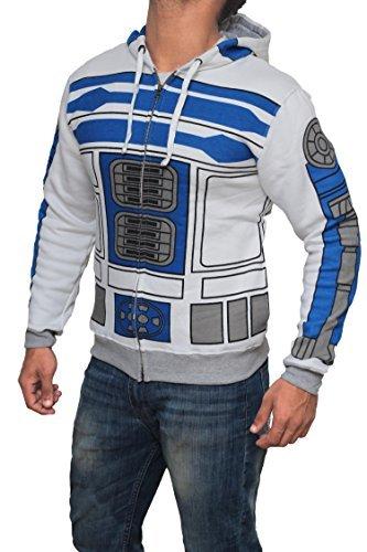 [Miracle(Tm) Star Wars I Am R2-D2 Costume Hoodie - 100% Cotton Zip Up Hoodie Hoodie (Small)] (Star Wars Mens Zip Up Costume Hoodie)