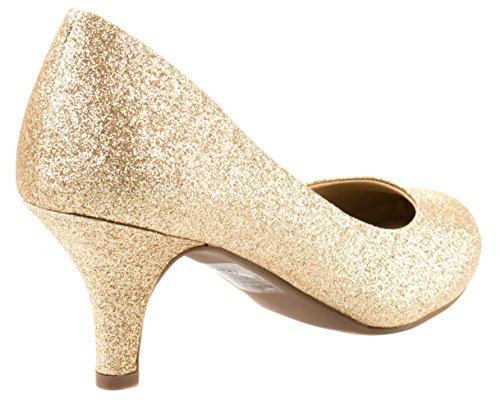 Chaussures De Confort Cityclassified Femme Carlos-h Slip On Orteil Rond Pompes Scintillantes À Talon Bas Or