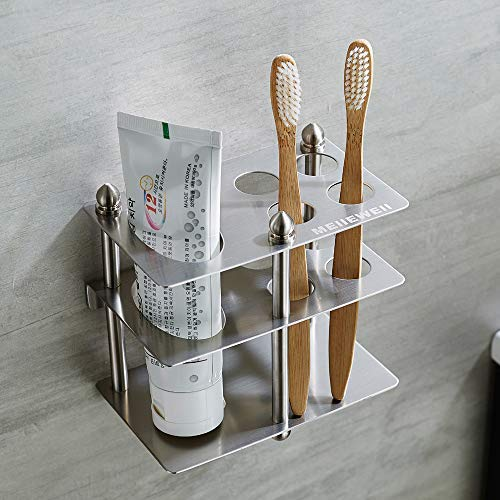 Mellewell Toothbrush Holder Toothpaste Organizer Stand Bathroom Storage, Stainless Steel Brushed Nickel, 03003S