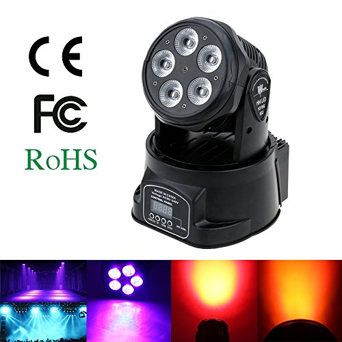 Docooler 75W Moving Head Light Stage Light 10 / 15 Channels Sound Control Auto Rotating Colors Changing Stage Wash Lamp 5 LED DMX512 for Disco KTV Club Party
