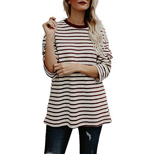 トップス 女性、三番目の店 女 カジュアル Oネック ストライププリント ロングスリーブ ブラウス Tシャツ