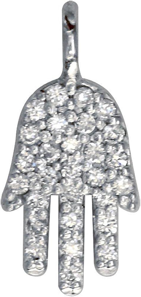 0.15CT Brilliant Created Diamond Hamsa Pendant Real 14K White Gold Hand Charm