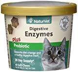 NaturVet - Digestive Enzymes for Cats Plus Probiotics - 60 Soft Chews - Helps Support Diet Change & A Healthy Digestive Tract - Aids in The Absorption of Vitamins & Minerals - 30 Day Supply