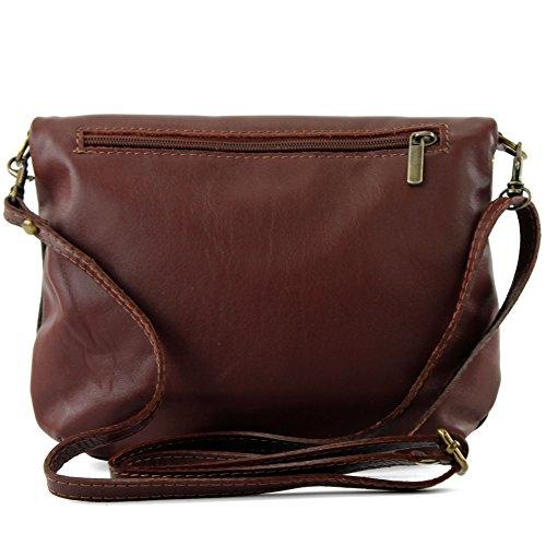 bolso bandolera cuero bolsa pequeña ital cuero de T139 muchacha embrague Schwarz Braun bolsa de de embrague rAx8Ir5nF