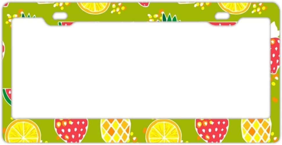EXMENI Pineapples On Purple License Plate Frame Theft-Proof Frames Stainless Steel Board Frames