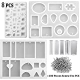 U-LIAN 8 Pieces Resin Casting Molds Assorted Styles Silicone Resin Molds Set with 100 Pieces Screw Eye Pins for Pendant Jewelry Making DIY(8 Pieces Molds+100 Pieces Screw Eye Pins)
