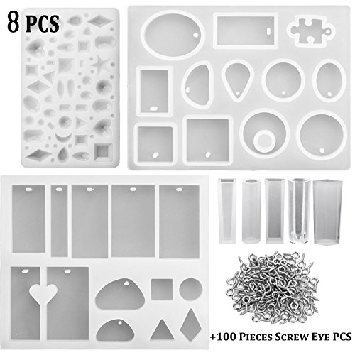 - U-LIAN 8 Pieces Resin Casting Molds Assorted Styles Silicone Resin Molds Set with 100 Pieces Screw Eye Pins for Pendant Jewelry Making DIY(8 Pieces Molds+100 Pieces Screw Eye Pins)