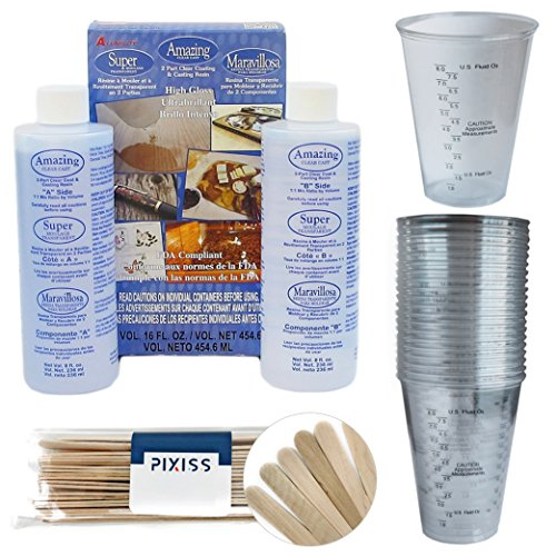 Amazing Clear Cast Resin, 20x Disposable Graduated Clear Plastic Cups, Pixiss Mixing Sticks Bundle