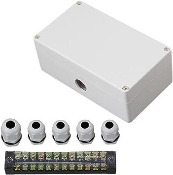 Caja de terminales impermeable de 12 posiciones, 1 pulgada y 4 salidas 158 mm x 90 mm x 60 mm, color gris y blanco: Amazon.es: Bricolaje y herramientas