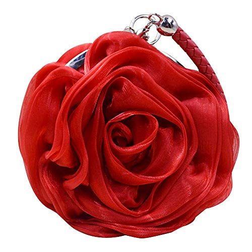 (Buddy Women Rose Shaped Clutch Soft Satin Wristlet Handbag Wedding Party Purse Red)