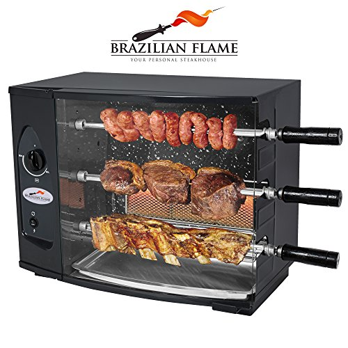Brazilian Flame 3 Skewer Rotisserie Gas Barbecue / Grill by Arke – Authentic Brazilian Barbecue at home - BBQ Roaster Oven - Perfect for Chicken, Fish, Beef, Vegetables & more! (3 Skewers)