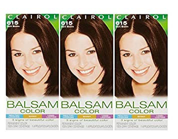 Clairol Balsam Hair Color 615 Dark Brown 1 Kit (Pack of 3)