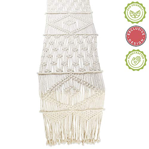 Folkulture Macrame Table Runner 108 Inches x 13 inches, Boho Fall Table Runner for Bohemian Rustic Wedding Dining Table or Coffee Table, White Cotton Christmas Table Runner or Farmhouse Table Runner