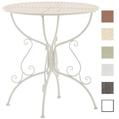 Clp Table De Jardin Ronde Amanda En Fer Forgé Table De Bistrot De Style Nostalgique Hauteur 74 Cm Table De Terrasse Diamètre De 70 Cm Solide Et
