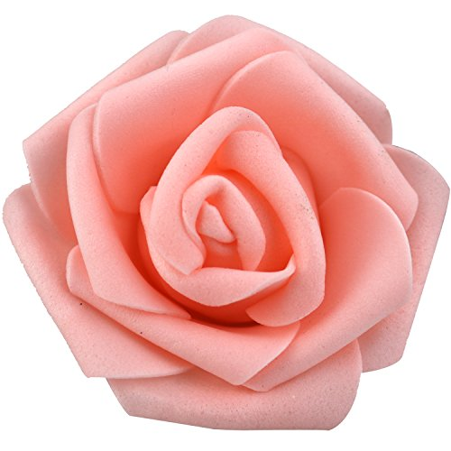 Real Touch 3D Artificial Foam Rose Head Without Stem for Wedding Party Home Decoration (100pcs, Champagne) (Champagne Roses)