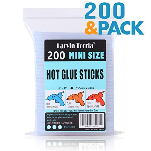 """(200 Pack, 6"""" Length and 0.27"""" Diameter Mini Size Hot Glue Sticks, High Viscosity and Transparent, Use with All Temperature Mini Glue Guns, Ideal for Art Craft, Basic Repairs and DIYs)"""
