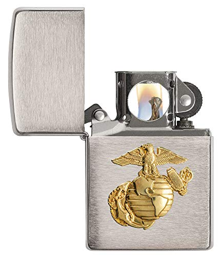 Zippo Pipe Lighter: US Marine Corps Crest Emblem - Brushed Chrome 280MARPL