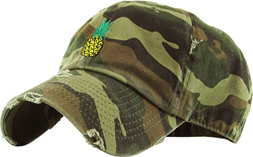 KBSV-024 CAM Pineapple Vintage Distressed Dad Hat Baseball Cap Polo Style Adjustable ()