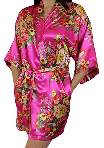 Women's Satin Floral Kimono Short Bridesmaid Robe W/Pockets - Rose M/L ()