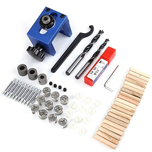 (Fealay Wood Dowel Hole Drilling Guide Jig Kit, Woodworking Self Centering Doweling Kit Drill Guide Body Carpentry Positioner Tool with Hole Cutter)