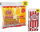 Carnival King Popcorn Kits [24pcs, 8 ounce] - Popcorn Machine Popcorn...
