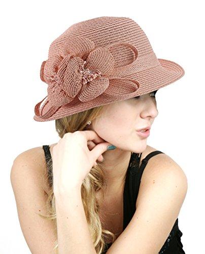 NYFASHION101 Side Flip Cloche Bucket Hat w/Woven Flower & Ribbon Accent