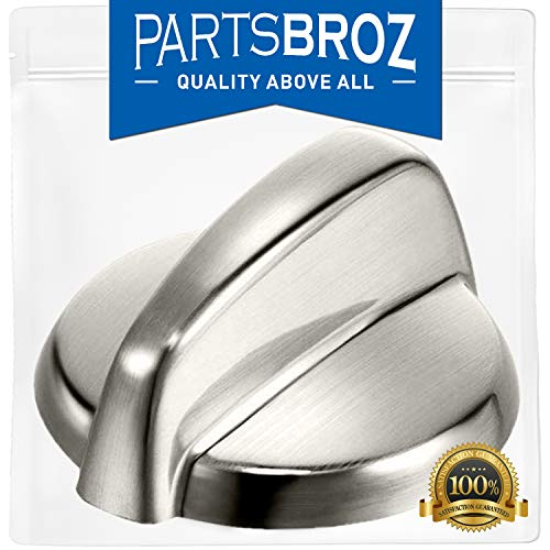 WB03T10284 Burner Control Knobs for GE Stoves, Stainless Steel Finish by PartsBroz - Replaces Part Numbers WB03T10284, AP4346312, 1373043, AH2321076, EA2321076, PS2321076