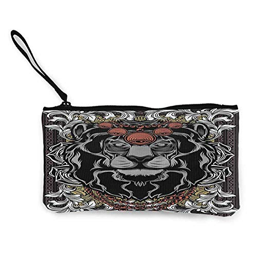 Women's Coin Pouches King,Jungle Emperor Lion Frame W8.5