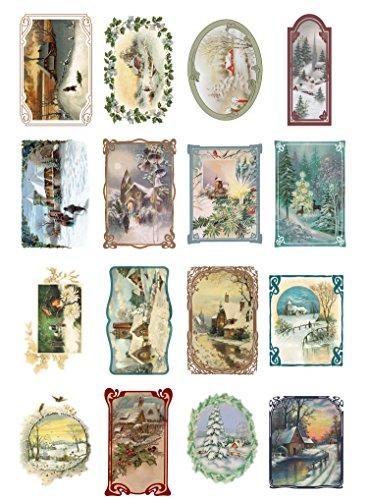 Papier fur Scrapbooking und Decoupage (10 blatt 20x30cm) Weihnachten Winterlandschaften FLONZ Vintage