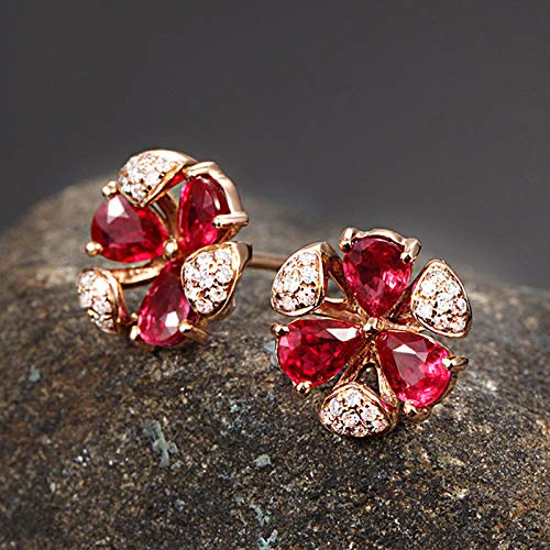 (ZHNA Color Treasure Series of European and American Color Pigeon Blood Ruby Earrings 18K Rose Gold Earrings red one Size)