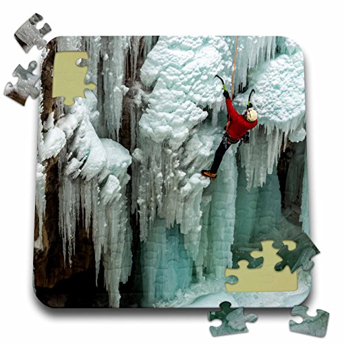 Danita Delimont - Sport - Ice climber ascending at Ouray Ice Park, Colorado. Horizontal - 10x10 Inch Puzzle (pzl_230416_2)