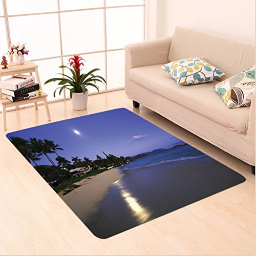 Nalahome Custom carpet ions Houses Clear Sky Full Moon And Moonlight Reflection At Daybreak On A Hawaii Beach Navy Sand area rugs for Living Dining Room Bedroom Hallway Office Carpet (6.5' X 10') by Nalahome