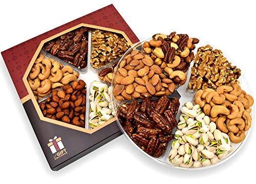 Holiday Gift Nut Tray Basket, Roasted Nut Variety Fresh Assortment Tray, Gourmet Food (Nut Gift Baskets For Men)