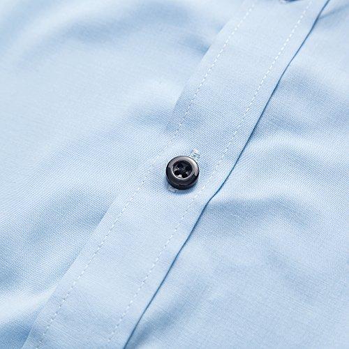 Respirant Bleu Couleur Kuson Sans Clair Unie Homme Manches Courtes À Chemise Repassage xxnfvOqAzH
