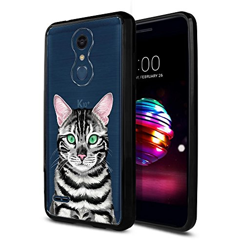 (FINCIBO Case Compatible with LG K10/ K10+ Plus K30 2018, Slim Shock Absorbing TPU Bumper + Clear Hard Protective Case Cover for LG K10 2018 (NOT FIT K10 2016) - Cute Spotted Silver Bengal Kitten Cat)