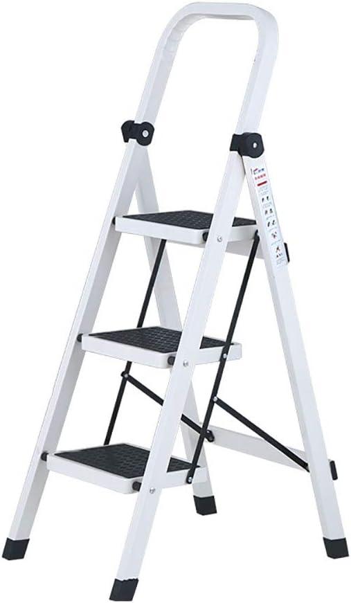 Taburete escalón plegable para carga de 330 libras, escalera de 3 peldaños para el hogar o la oficina, para adultos y personas mayores, escalera blanca ligera con agarre de mano y pedal