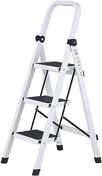 Escaleras plegables Taburete plegable para carga de 330 lb, escalera de escalera para casa/oficina 3 para adultos/adultos mayores, escalera blanca liviana con empuñadura y pedal ancho: Amazon.es: Bricolaje y herramientas