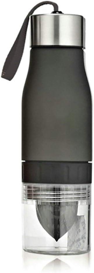 para Deportes al Aire Libre Botella de Agua con infusor de Frutas Color Negro port/átil 650 ml Bocotoer pl/ástico